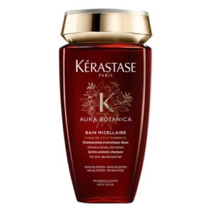 Kerastase Aura Botanica Bain Micellaire shampoo revives dull hair that lacks lustre and brings it back to life. Developed with 96% natural origin ingredients, such as responsibly sourced Samoan Coconut Oil and Moroccan Argan Oils, this forifying shampoo gently cleanses away dirt and impurities; its light lather lifts away dirt to give shinier, revitalised locks. Sweet Orange Essential Oil provides a feel-good fragrance while hair is protected against frizz for 72 hours and looks nourished, 3x shinier and looking stunning. No silicones, sulphates and parabens so perfect for use with hair extensions. How to use: Apply to wet hair, massage in well to activate the rich, airy lather and feel good fragrance. Rinse well. Always shampoo twice and always follow with Aura Botnica Soin Fondamental. Millies Tip: After shampooing with Aura Botanica, the hair will have a slightly stiff feel to it, this is normal. When followed by Aura Botanica Soin Fondamental hair is transformed to silky-feeling, head-turning shiny hair.
